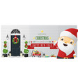decorated christmas front door and santa claus vector image