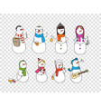 different snowman characters design set design vector image