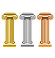 gold silver and bronze ancient columns vector image vector image