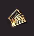 golden vintage ticket icon on dark vector image