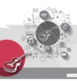 hand drawn acoustic guitar icons with icons vector image