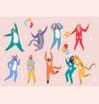 home party happy people wearing animal costume vector image vector image