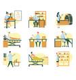hospital scenes different doctors and patients vector image vector image