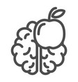knowledge line icon brain and apple vector image