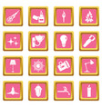light source symbols icons pink vector image