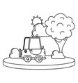line agrimotor car in the city with tree and sun vector image vector image