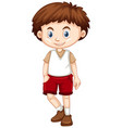 little boy wearing red shorts vector image vector image
