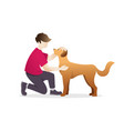 man petting a dog vector image