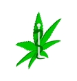 Marijuana leaf with Rod of Asclepius icon vector image