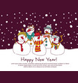 night new year group snowmen greeting card vector image
