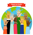 peace concept peoples hands raised vector image