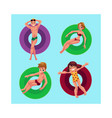 people floating on inflatable rings in swimming vector image vector image