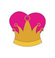 queen crown with purple contour vector image vector image