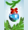 realistic blue new year christmas ball on fir tree vector image