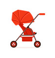 red baby carriage safe handle transportation of vector image
