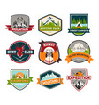 signs or badges for hunting and climbing camping vector image