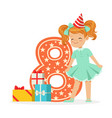 smiling happy eight year old girl in a red party vector image vector image