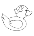 toy rubber duck with bow icon vector image