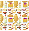 traditional russian cuisine seamless pattern vector image vector image