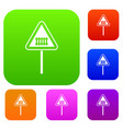 warning road sign set collection vector image vector image