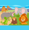 wild animal characters group cartoon vector image