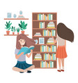women in the library avatar character vector image