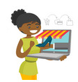 young african-american woman shopping online vector image vector image