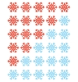 set of red rating snowflakes over white vector image