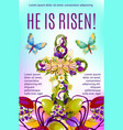 easter cross with flowers and eggs greeting card vector image