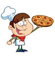 Boy Chef Showing A Delicious Pizza vector image