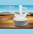 a cup of milk with a splash effect against a vector image vector image