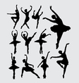 Ballet female dancer silhouettes vector image vector image