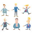 businessmen or men cartoon characters set vector image