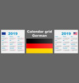 calendar deutsche german 2019 set grid wall iso vector image vector image
