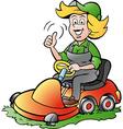 Cartoon of a Handy Gardener Woman riding on a vector image vector image
