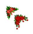 christmas decorations with fir tree collection vector image vector image