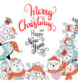 christmas square winter banner with characters vector image