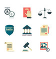 copyright icons business company legal law vector image vector image