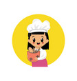 cute bakery girl mascot design isolated on white