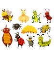 cute cartoon bug icon set on white background vector image