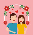 cute happy couple together love with floral vector image vector image