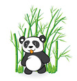 cute Panda Bear in Bamboo Forrest 01 vector image