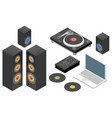 dj set flat isometric vector image