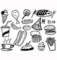 doodle junk food background vector image