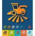 Flat design combine-harvester vector image vector image