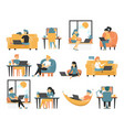 freelancer set collection people who working vector image vector image