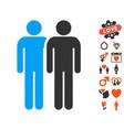 gay couple icon with valentine bonus vector image vector image