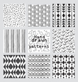 geometric pattern set of hand drawn style vector image