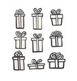 gift icon set color simple present box with vector image