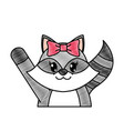 grated adorable female raccoon animal with hand up vector image vector image